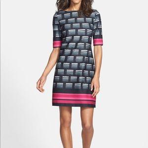 Eliza J Print Ponte Knit Shift Dress Size 16
